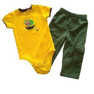 CARTER'S 2 pc Yellow & Green Outfit 24 m